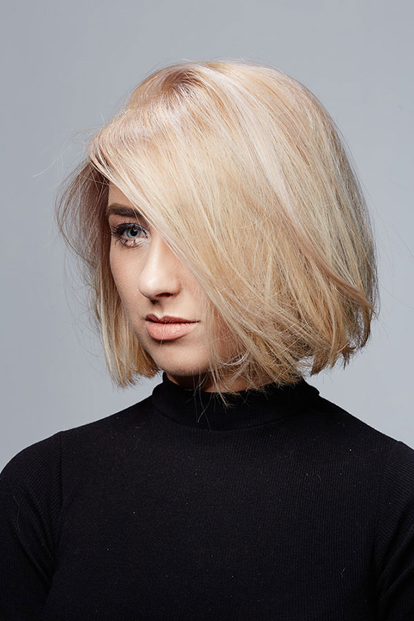 woman with short blonde hair